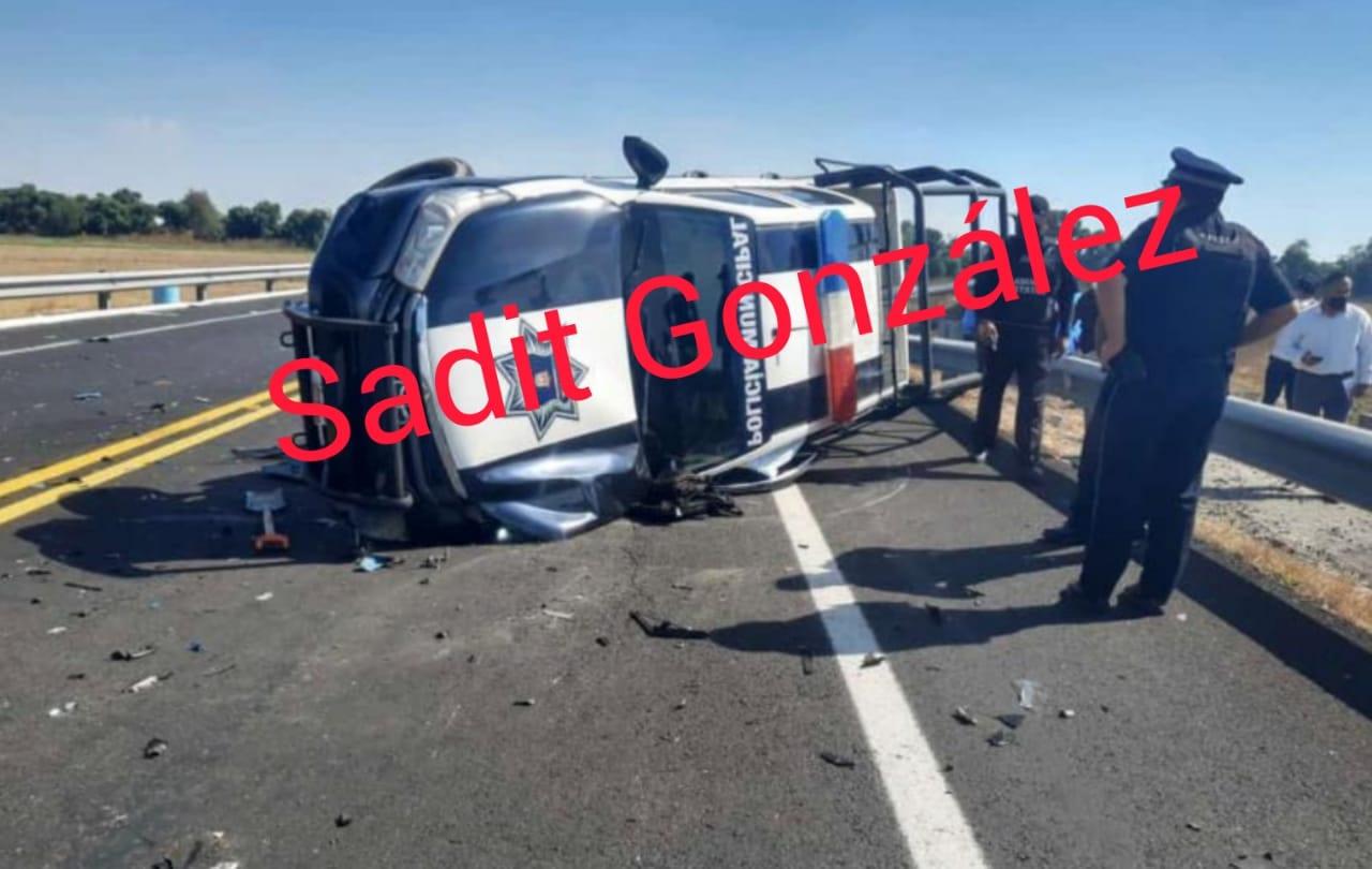 Choque entre patrulla de Huejotzingo y carro particular deja 4 lesionados