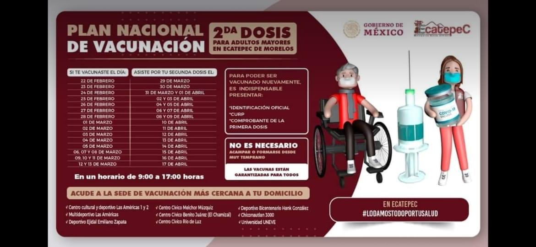Mañana inicia segunda etapa de vacunación anticovid19 para adultos mayores en Ecatepec