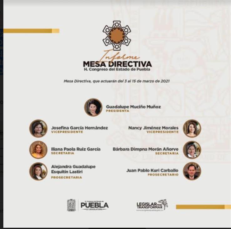 Llega Muciño Muñoz como presidenta de la Mesa Directiva del Congreso de Puebla