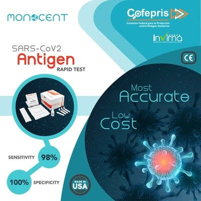 Monocent Inc. recibe autorización de COFEPRIS (México) e INVIMA (Colombia) para su prueba de antígenos de 15 min para la COVID-19