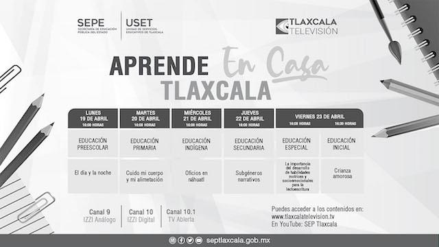 """SEPE presenta barra temática de """"Aprende en casa Tlaxcala"""" del 19 al 23 de abril"""