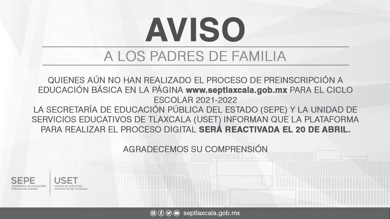 Padres de familia podrán realizar proceso de inscripción a educación básica este 20 de abril:SEPE