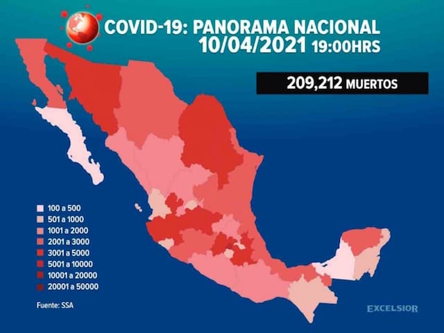 México acumula 209 mil 212 muertes por Covid-19