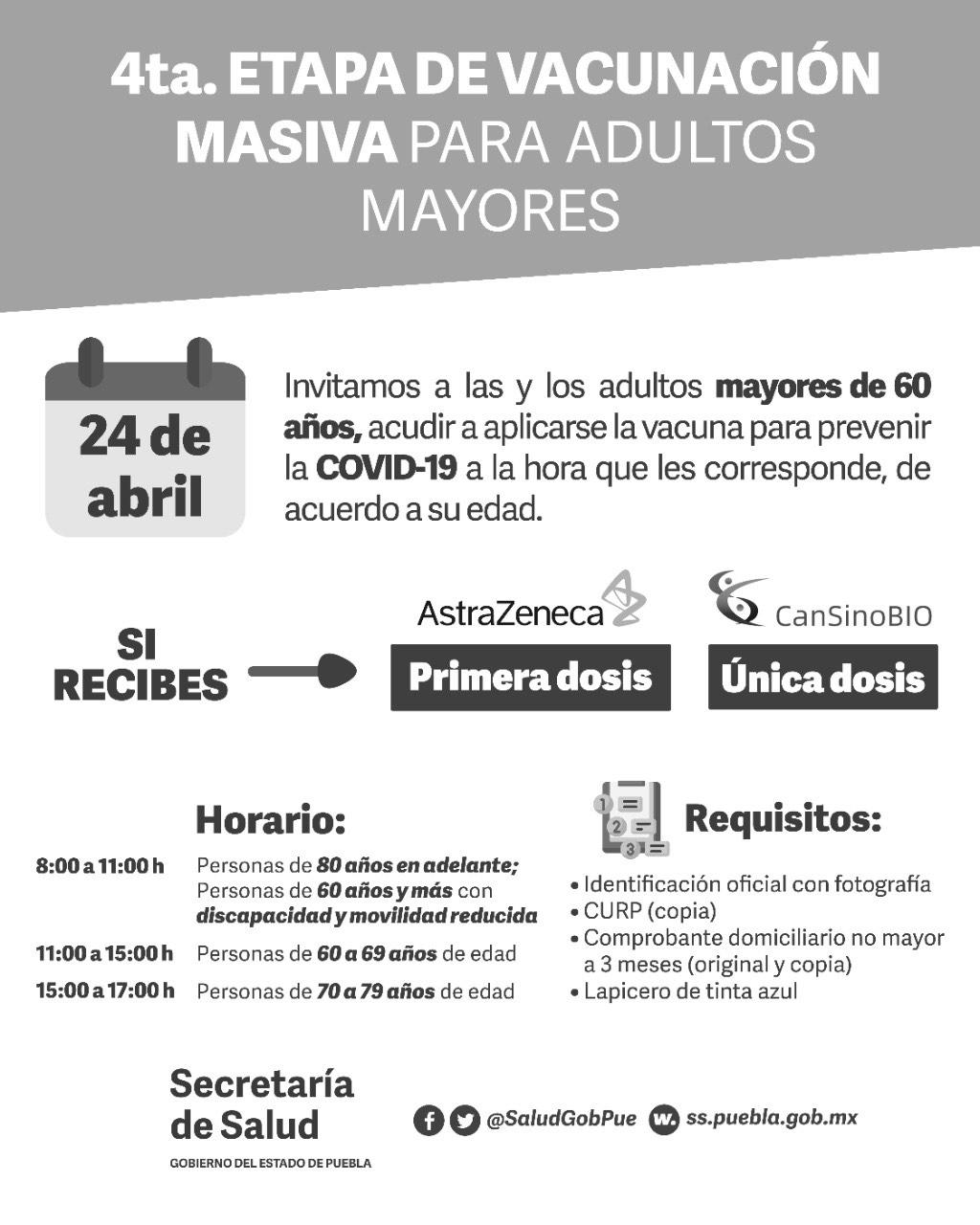Hoy único día de vacunación en 70 municipios de Puebla