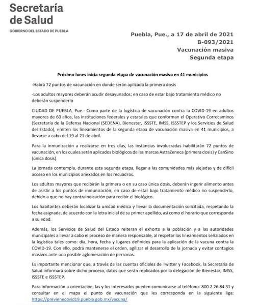 Segunda etapa de vacunación al interior del estado de Puebla, el 19 de abril