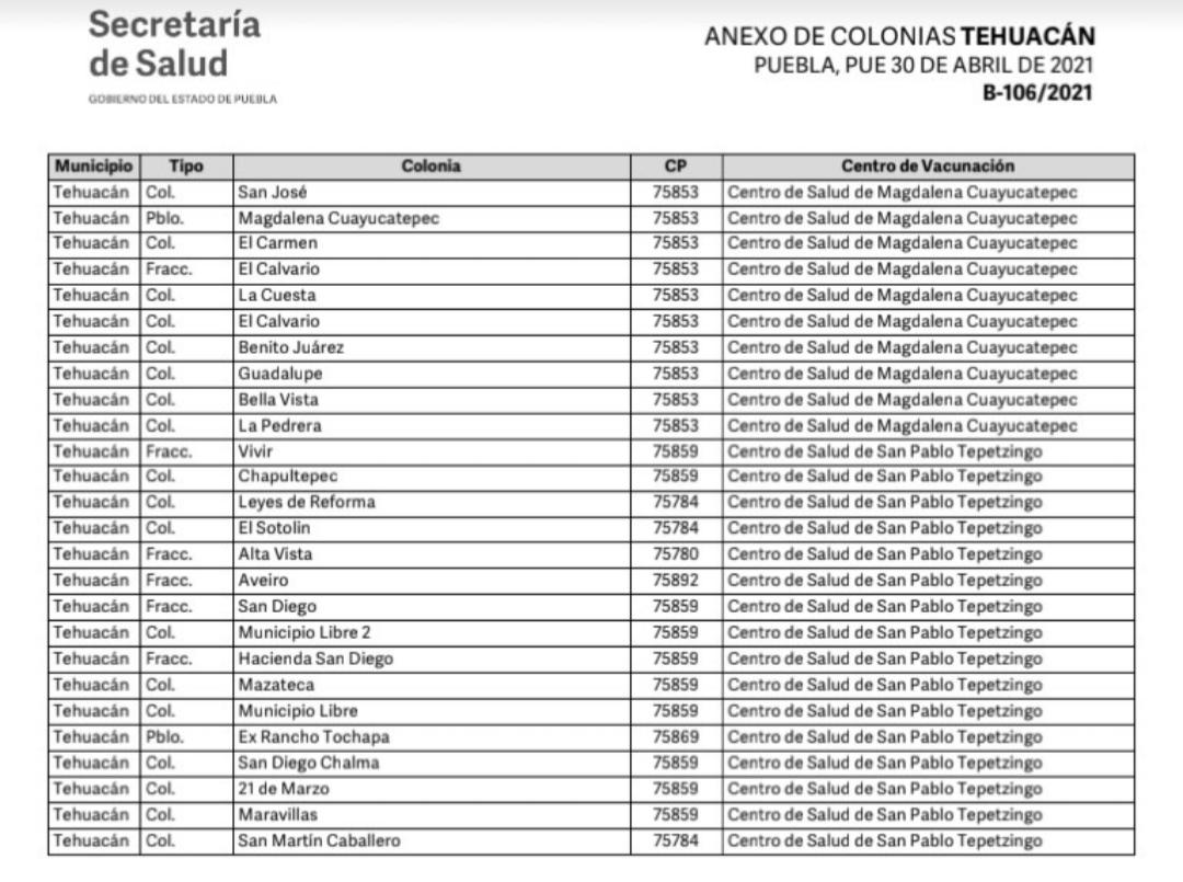 Del 3 al 5 de mayo se vacunará a mayores de 50 años en Tehuacán: Salud Puebla