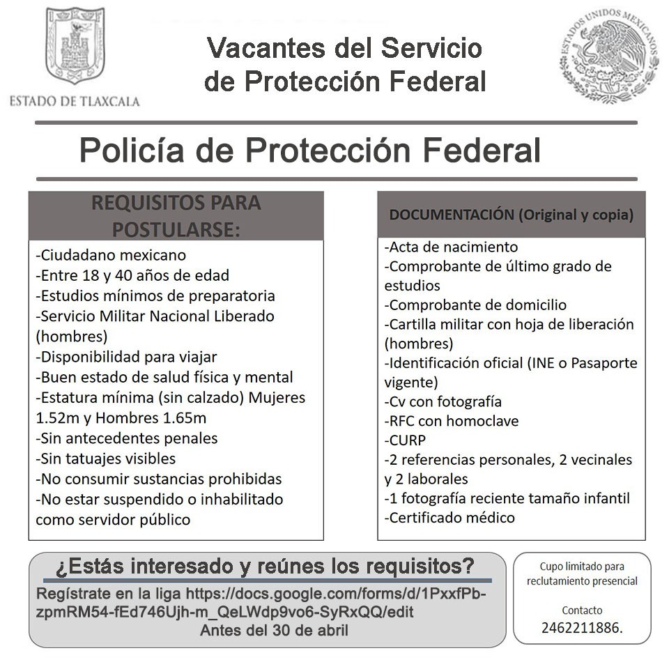 Comienza en Tlaxcala reclutamiento para vacantes de policía de protección federal