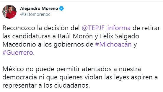 Reconoce PRI decisión del TEPJF sobre candidaturas de Michoacán y Guerrero