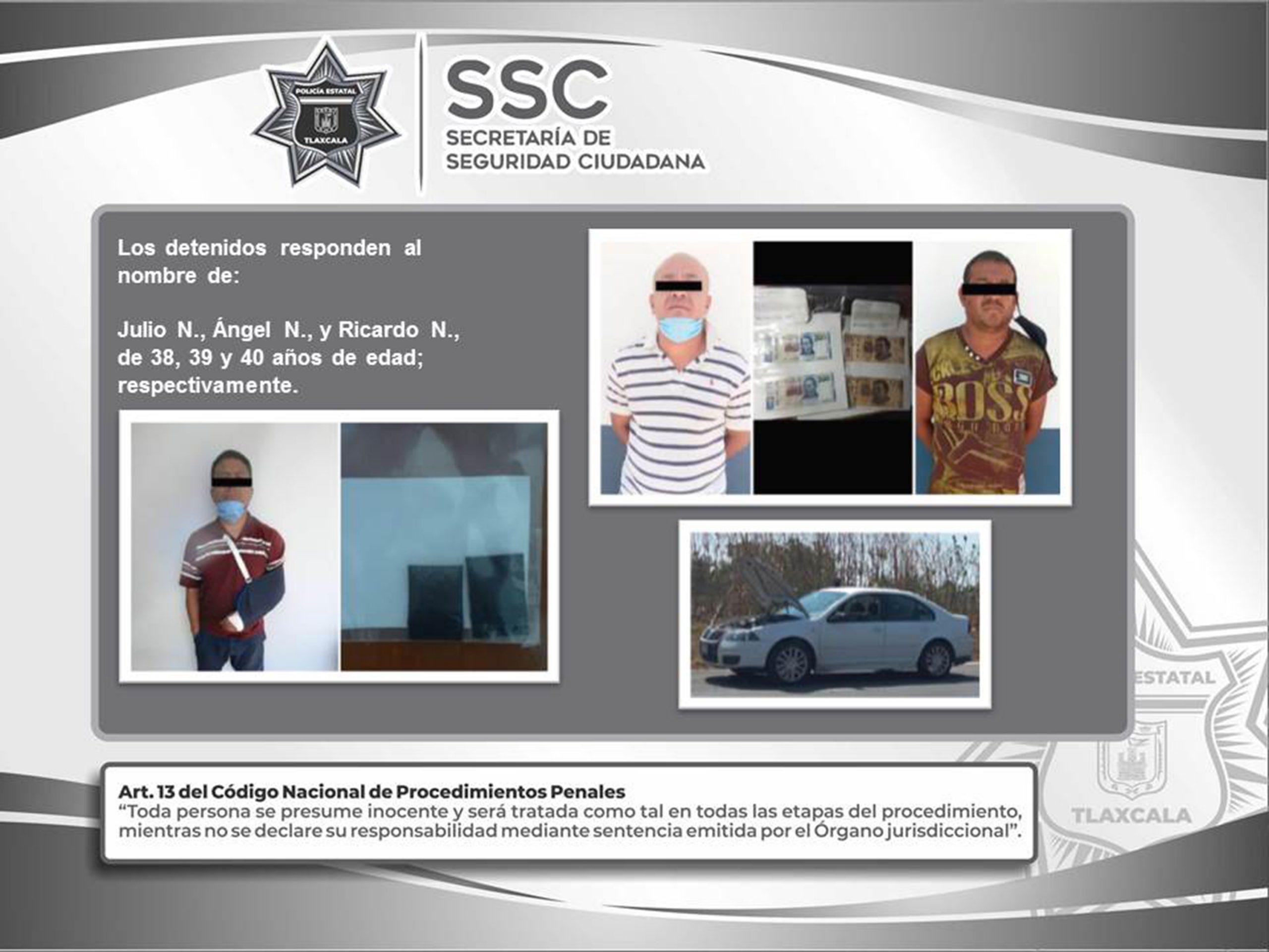 La SSC detiene en Tenancingo a tres sujetos y asegura sustancias ilegales