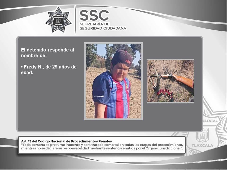 Desde Tlaxcala: Policía Estatal detiene en Cuapiaxtla a una persona con arma de fuego