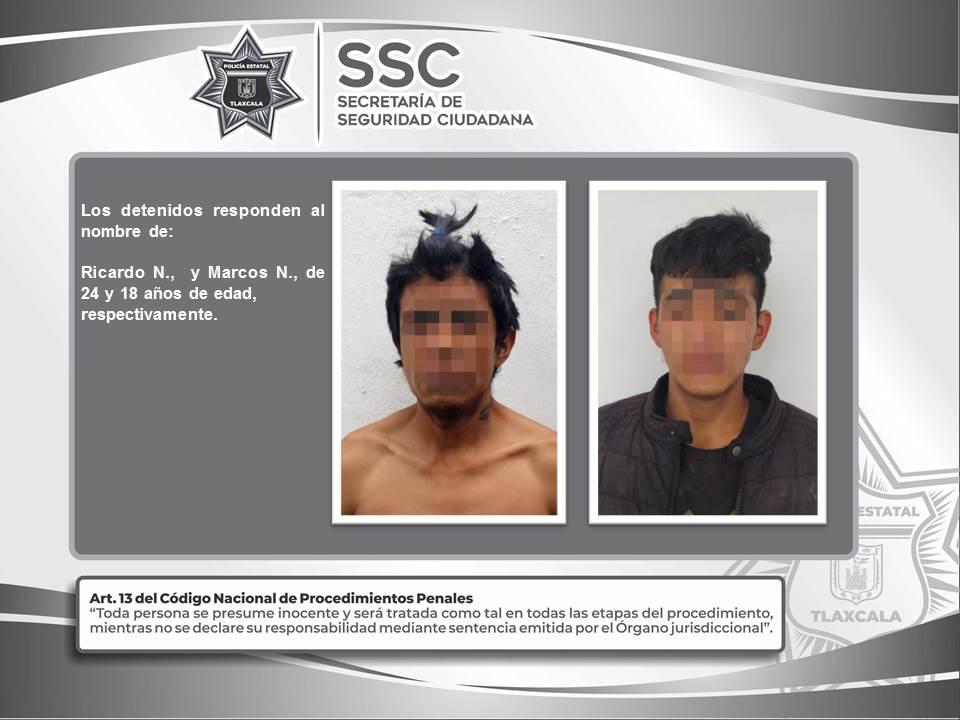 Desde Tlaxcala: SSC detiene en Calpulalpan a dos personas por el probable delito de robo