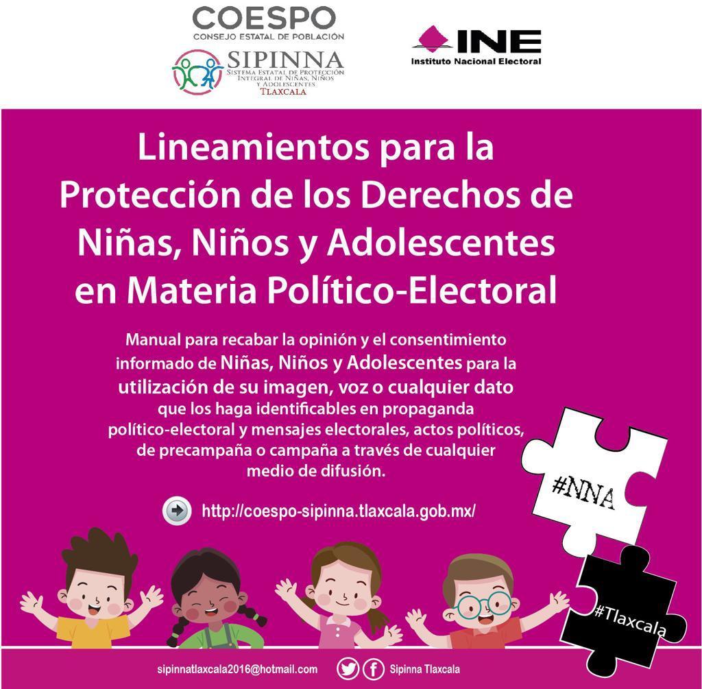 """Sipinna Tlaxcala e INE presentan """"Lineamientos para la Protección de los Derechos de Niñas, Niños y Adolescentes en Materia Político-Electoral"""""""