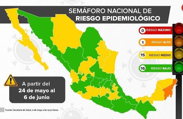 Semáforo epidemiológico del 24 de mayo al 6 de junio