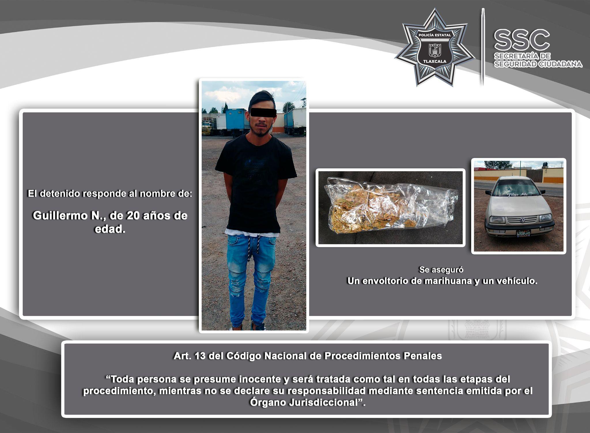 La SSC detiene a una persona en posesión ilegal de marihuana en Calpulalpan