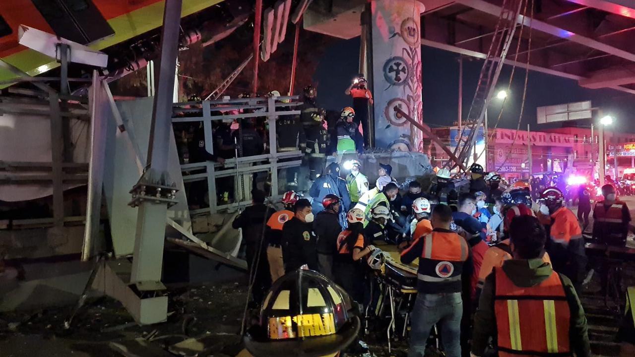 Al menos 13 muertos y 70 lesionados, saldo preliminar de la caída en la línea 12 del metro, confirmó el gobierno de la Ciudad de México