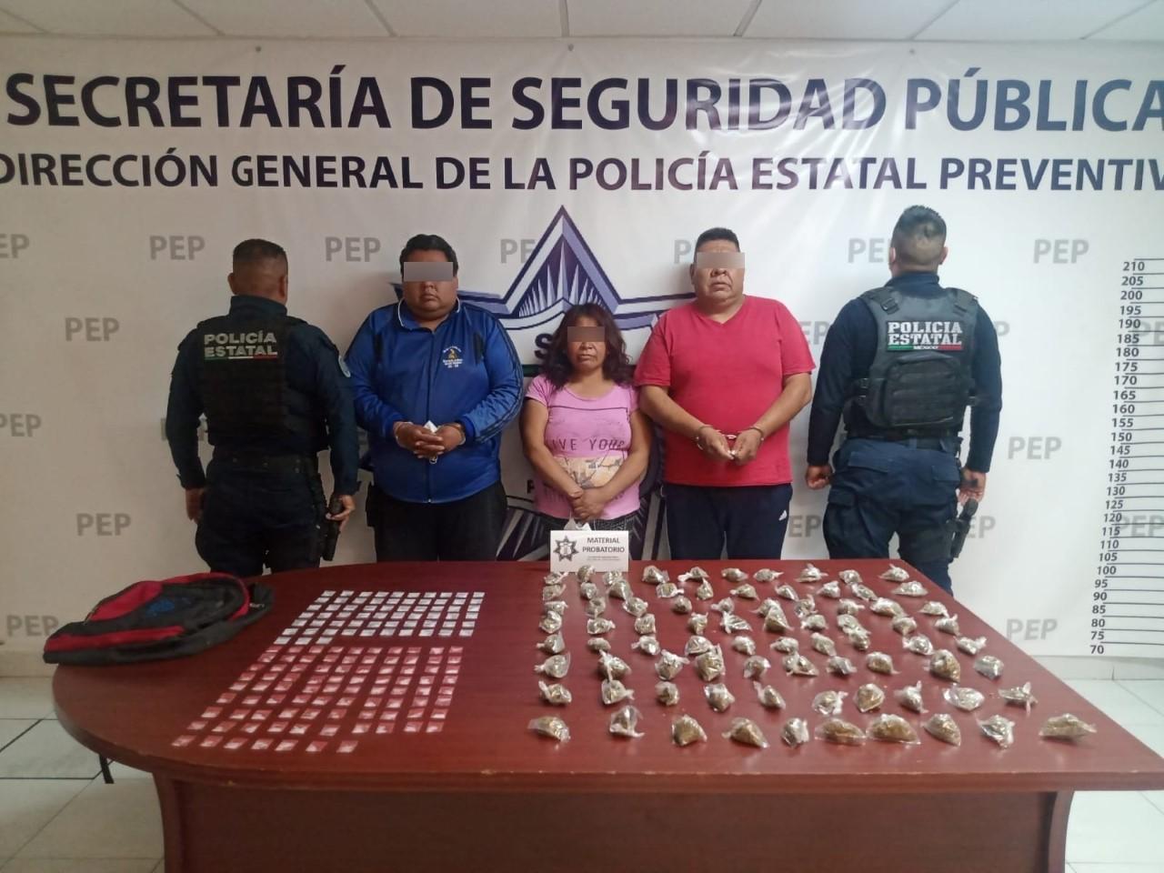 """Tres de """"los cuerudos"""", detenidos por la policía estatal en San Miguel Xoxtla"""