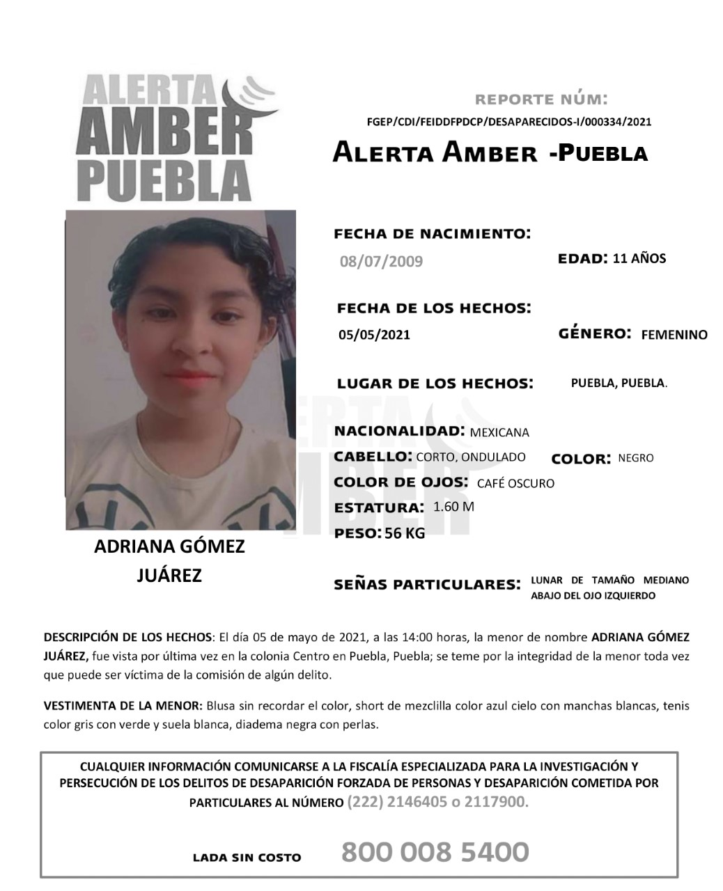 Se activa Alerta Amber para localizar a menor de 11 años de edad
