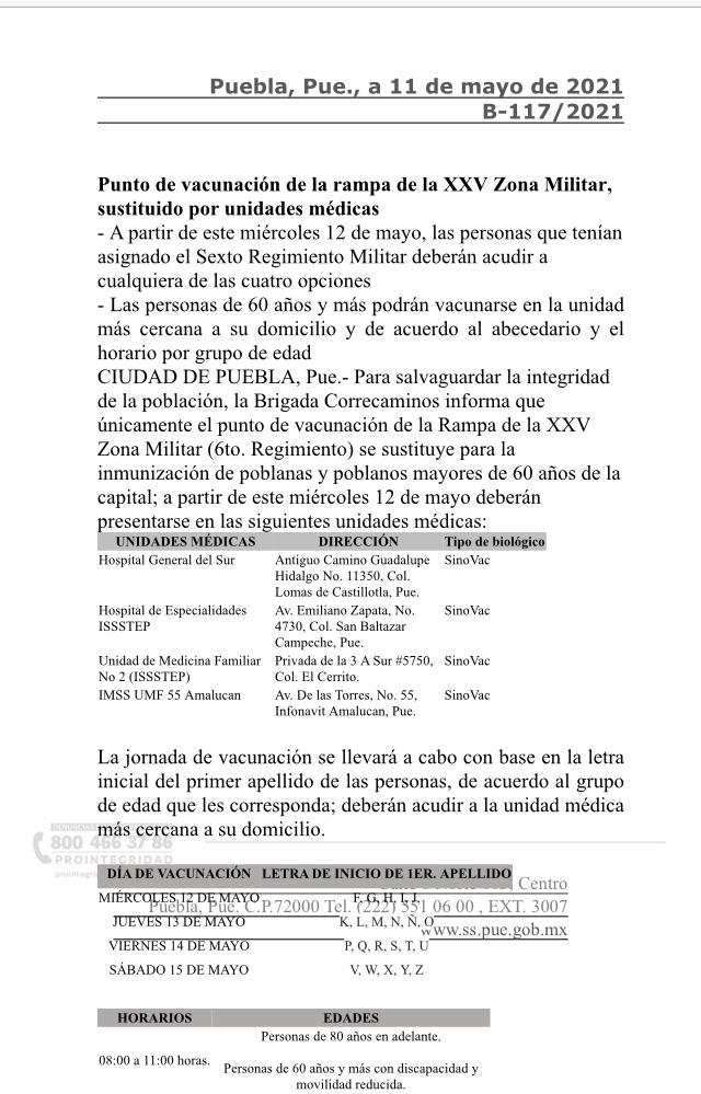 Secretaría de Salud estatal cambia vacunación en el Sexto Regimiento Militar al habilitar cuatro unidades médicas