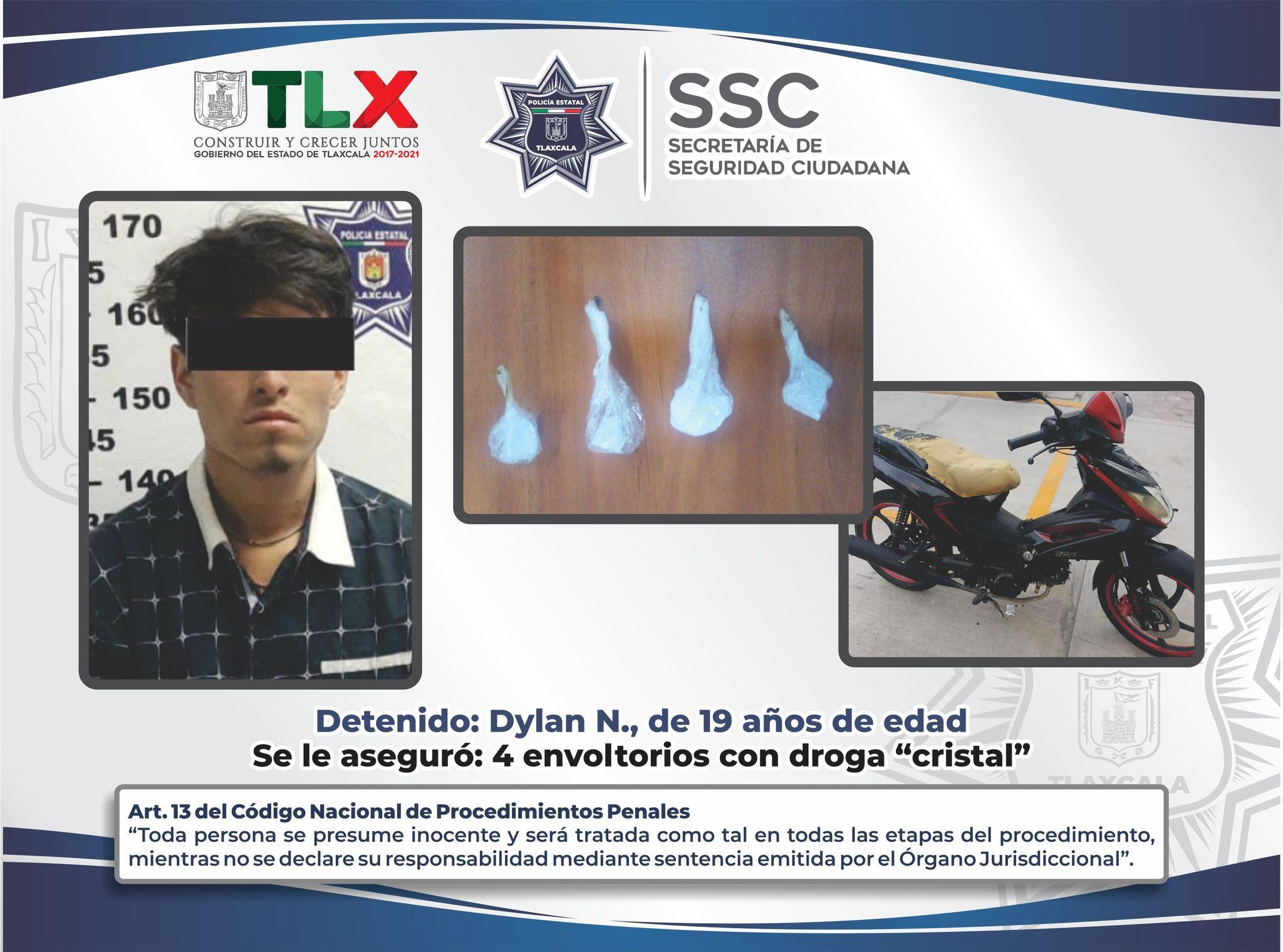 La SSC detiene en Apizaco a persona por posesión de droga