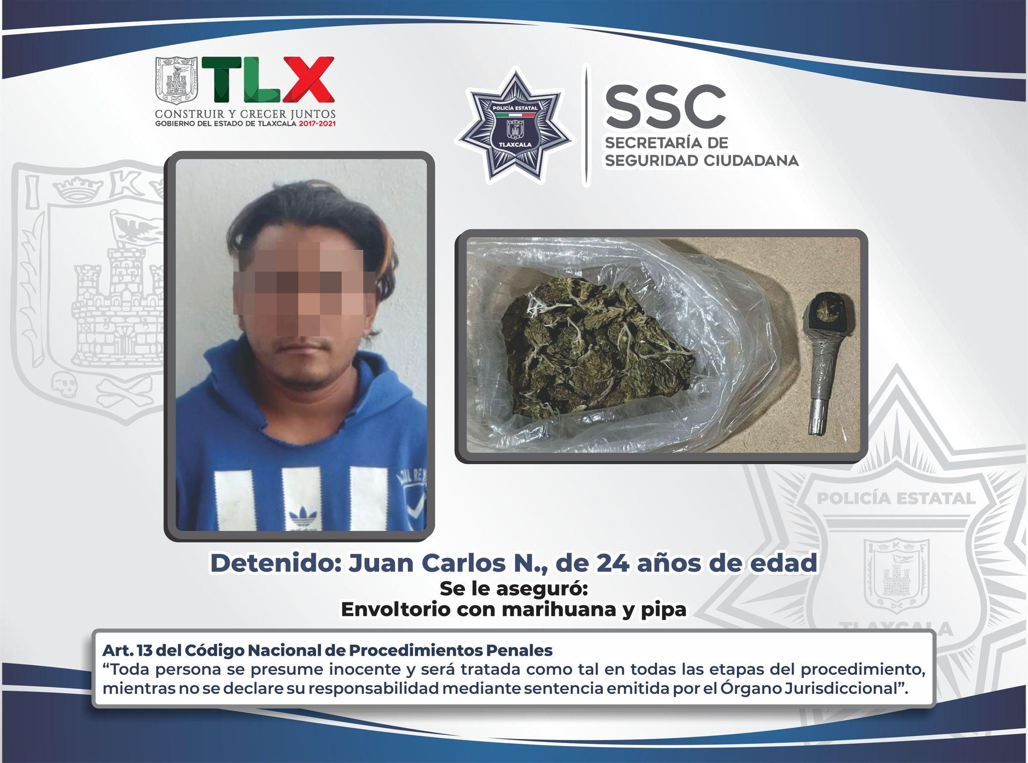 La SSC detiene en Totolac a persona por posesión de enervantes