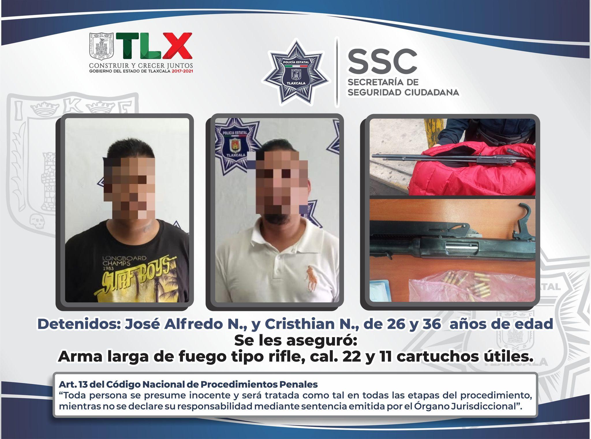 Desde Tlaxcala: SSC detiene a dos sujetos en Tzompantepec y asegura arma de fuego