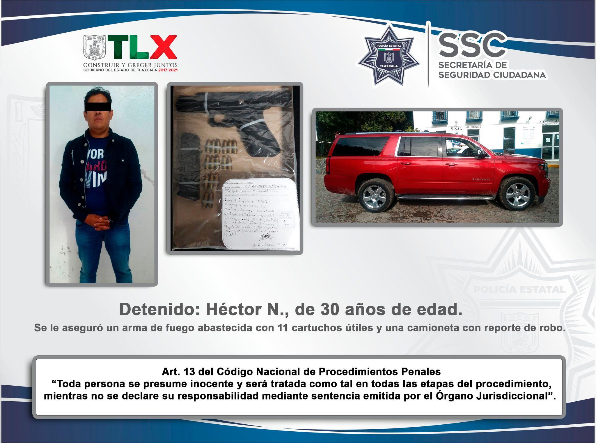 Desde Tlaxcala: SSC detiene en Ixtacuixtla a sujeto con arma de fuego y recupera vehículo robado