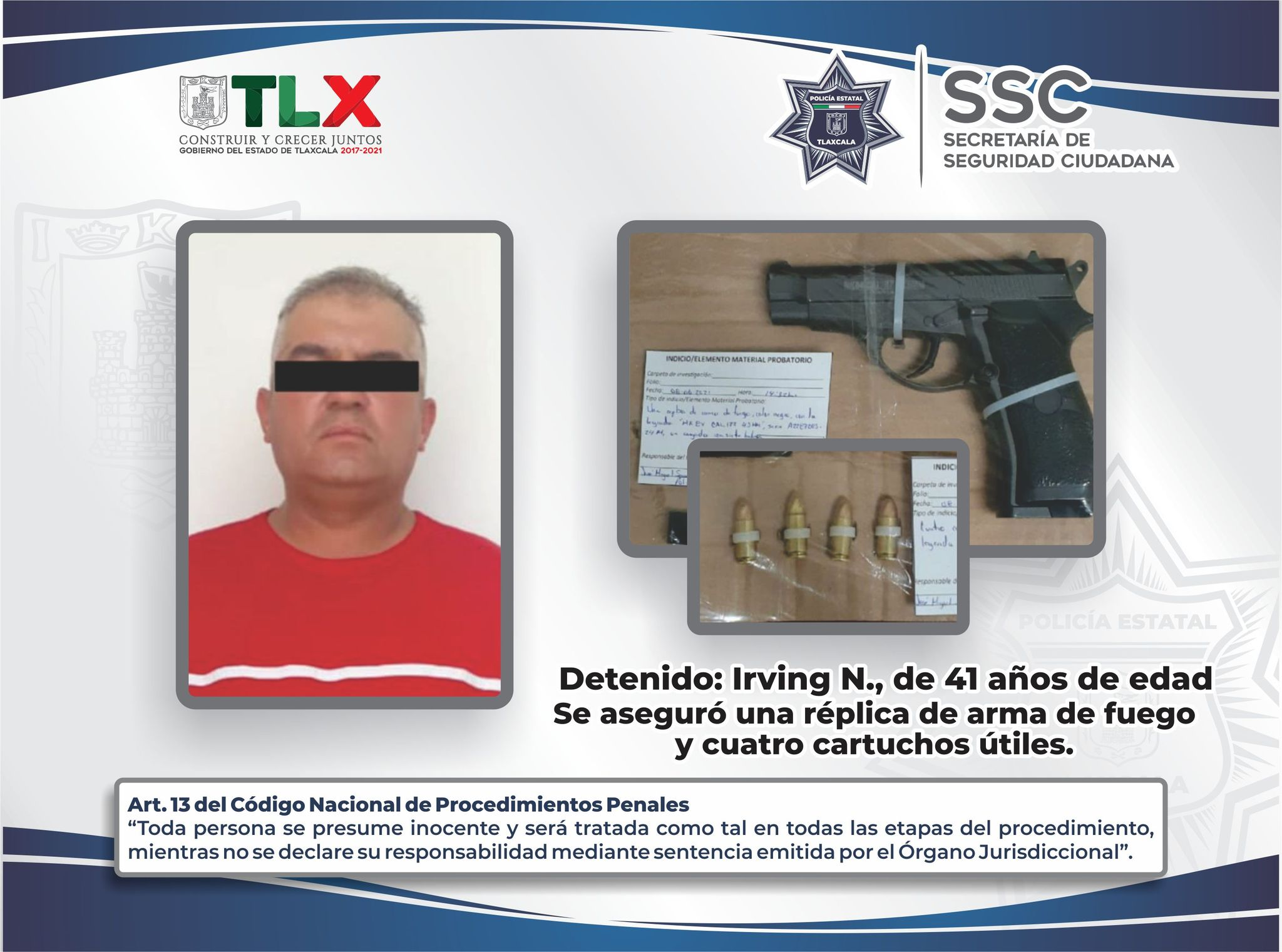 Desde Tlaxcala: SSC detiene a una persona en posesión de una réplica de arma de fuego