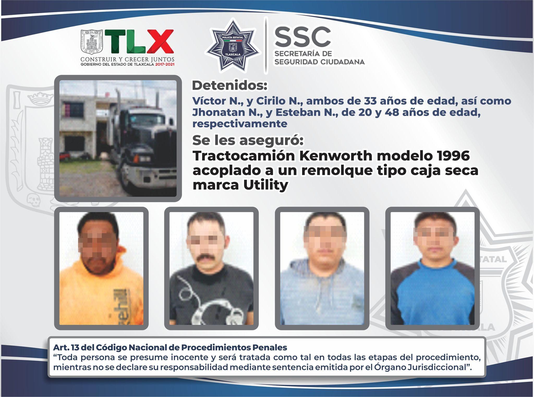 Desde Tlaxcala: SSC recupera en Teolocholco un tractocamión robado
