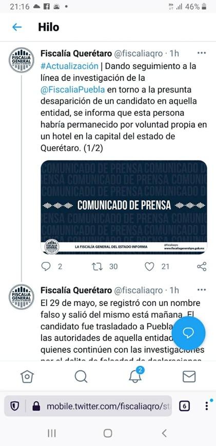 Fiscalía de Querétaro niega secuestro del candidato del Partido Verde, Porfirio Lima