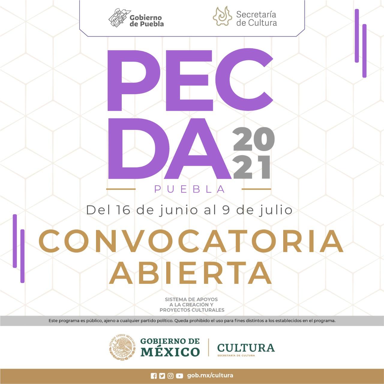 Emiten Cultura y el Sistema de Apoyos a la Creación y Proyectos Culturales convocatoria PECDA 2021