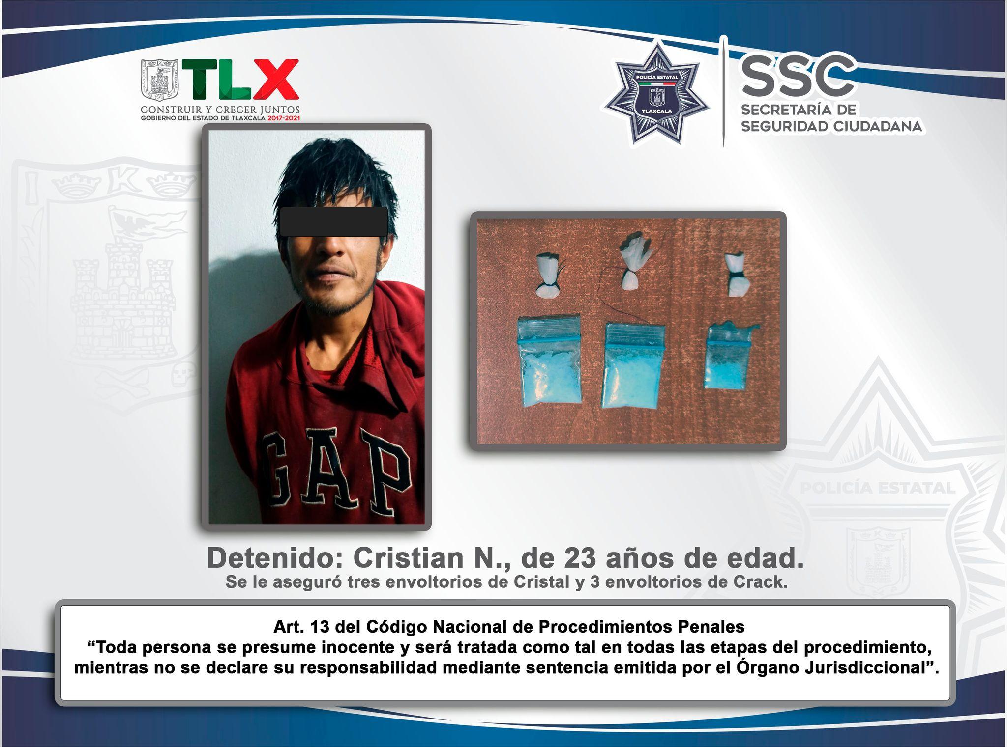 Policía Estatal detiene en Calpulalpan a sujeto con droga