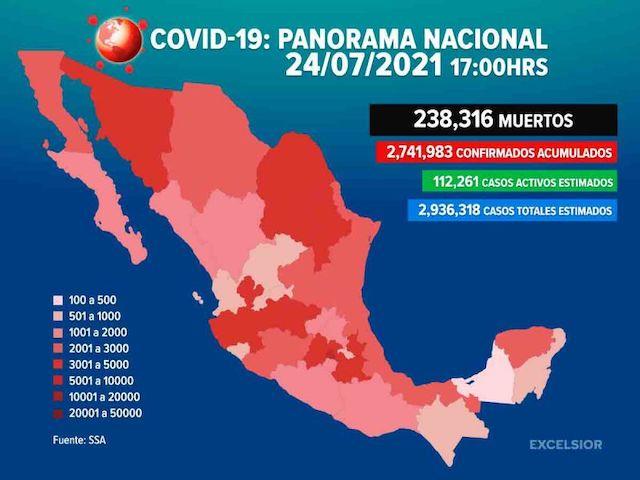 Ya son 238 mil 316 muertos por Covid-19 en México