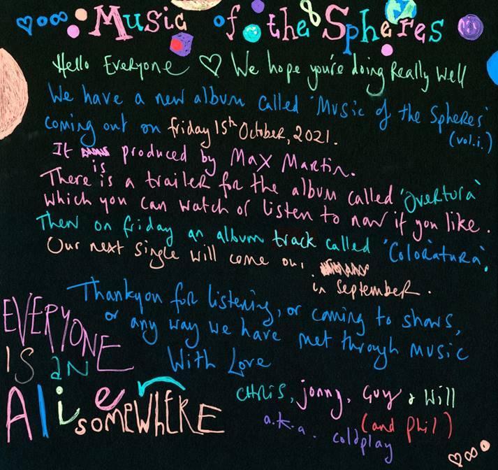 """Coldplay confirma que a partir del 15 de octubre su nuevo álbum """"Music Of The Spheres"""" se encontrará disponible a nivel mundial"""