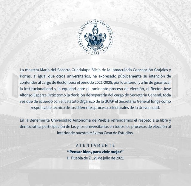 Rector Esparza separa de su cargo a secretaria general de la BUAP para garantizar democracia rumbo a renovación de la rectoría