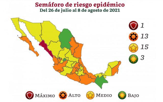Semáforo Covid: Tercera ola lleva naranja a 13 entidades; Sinaloa, en riesgo máximo