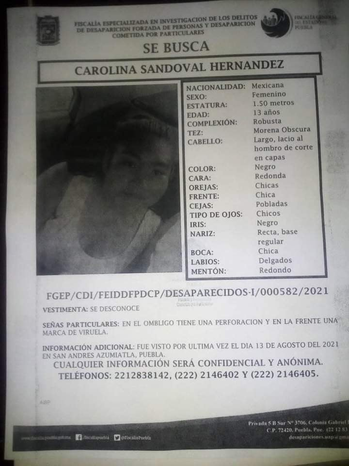 Alerta Ambar: Se busca a Carolina Sandoval Hernández