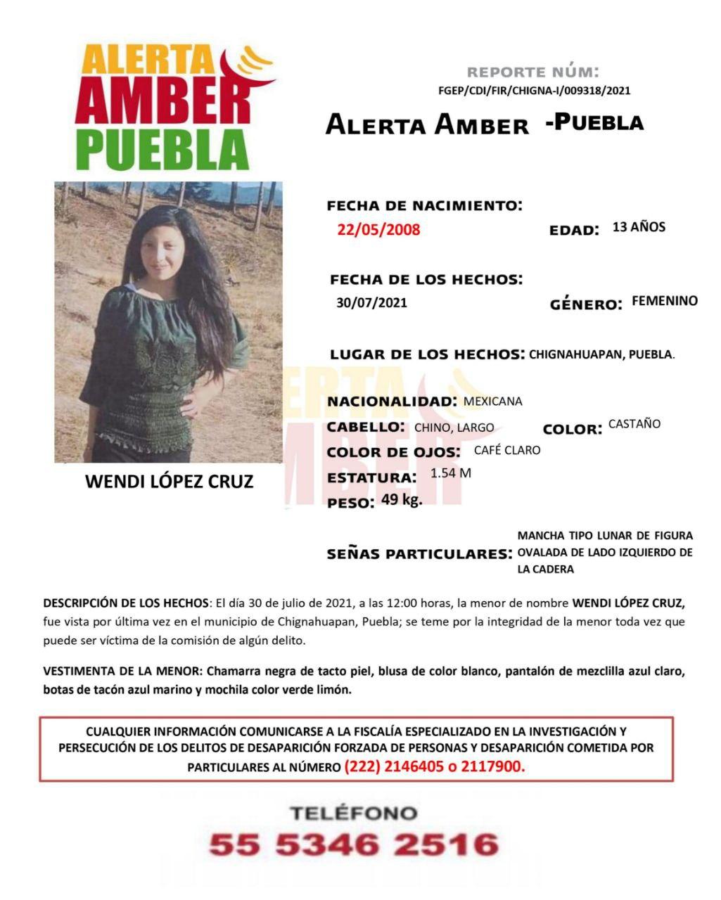 Fiscalía Puebla activa Alerta Amber para localizar a menor de 13 años