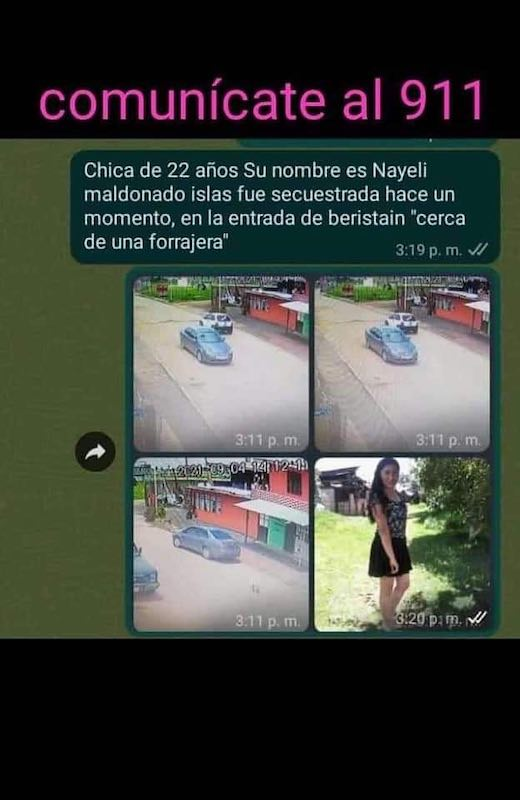Urgente: Reportan el Secuestro de una mujer en la comunidad de Beristáin