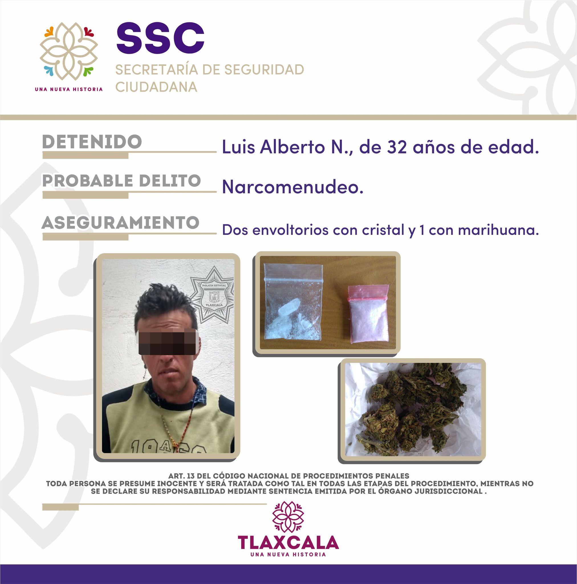 La SSC detiene en Tlaxco a una persona por posesión de droga