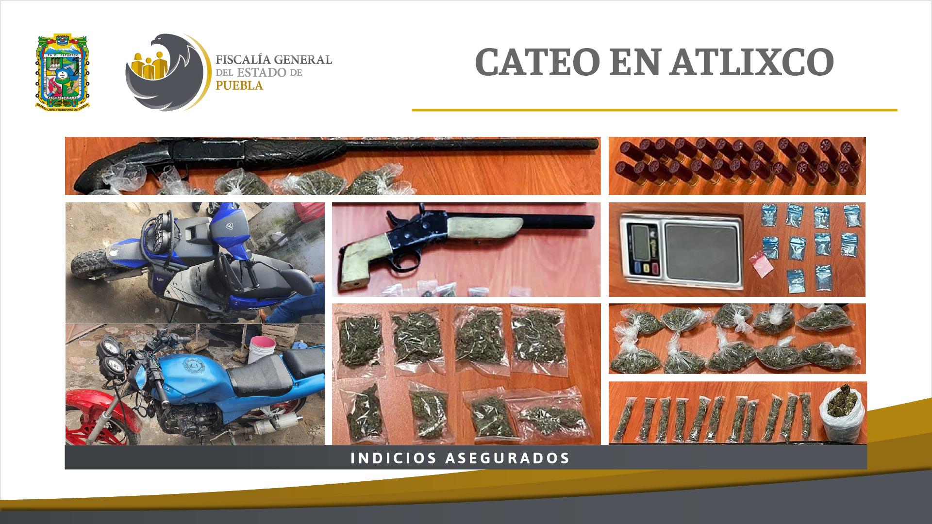 En cateo en Atlixco, FGE aseguró droga y motocicletas presuntamente robadas