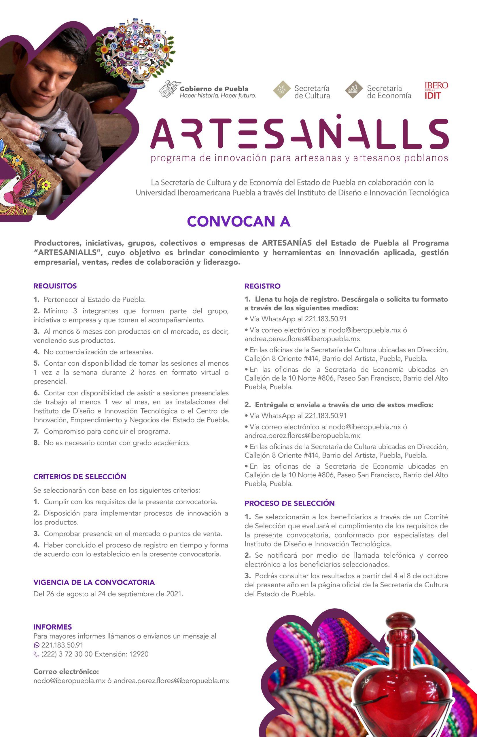 """Presenta Cultura """"Artesanialls"""", un programa en apoyo a artesanos poblanos"""