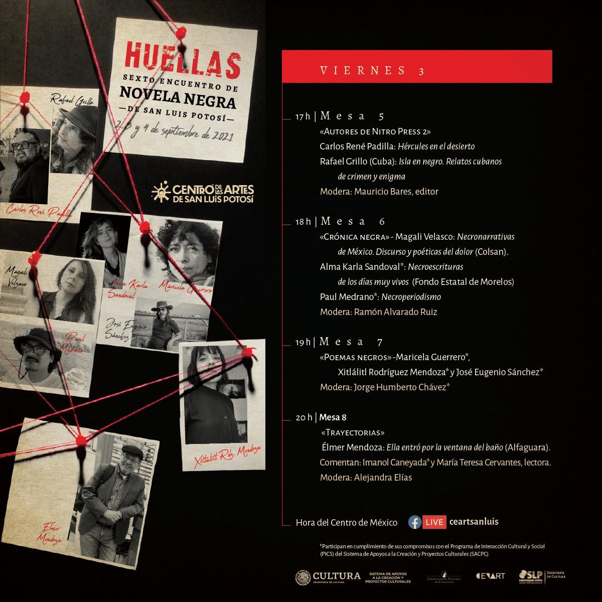 Elmer Mendoza y Qiu Xialong en Huellas, Encuentro Internacional de Novela Negra de SLP