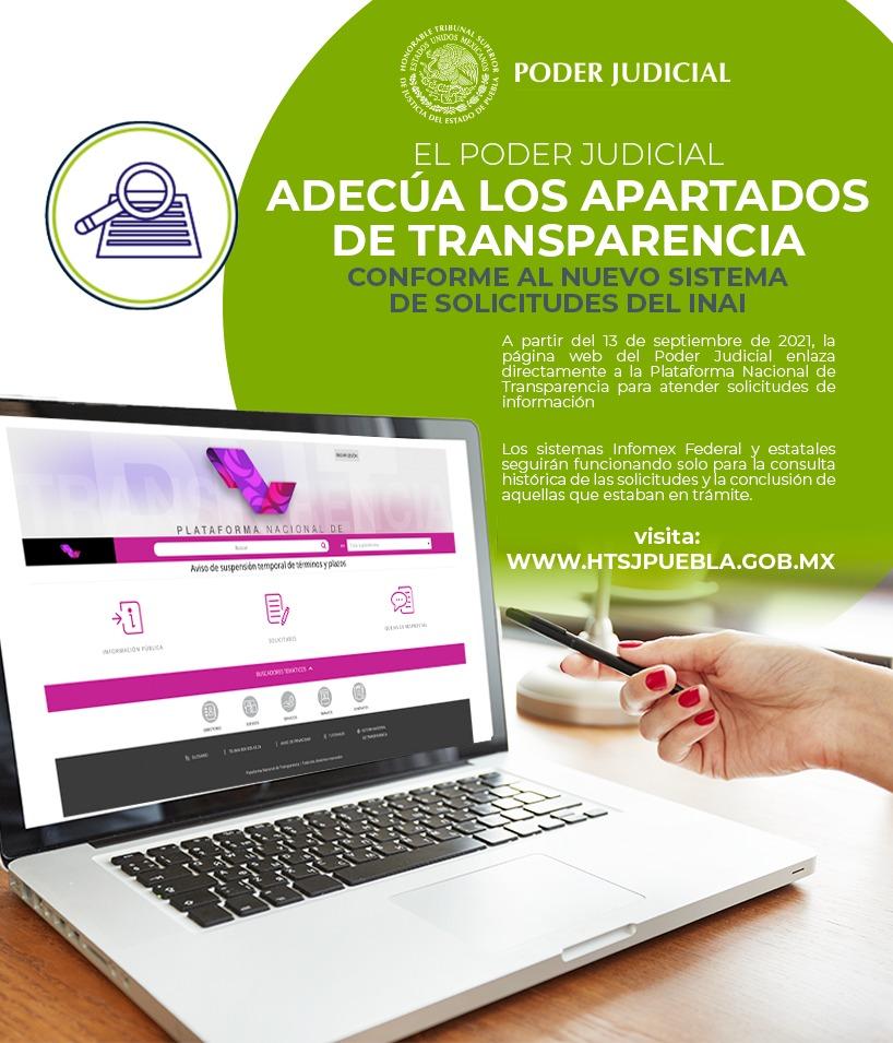 Adecúa Poder Judicial de Puebla apartados  de transparencia para el nuevo sistema de solicitudes  del INAI