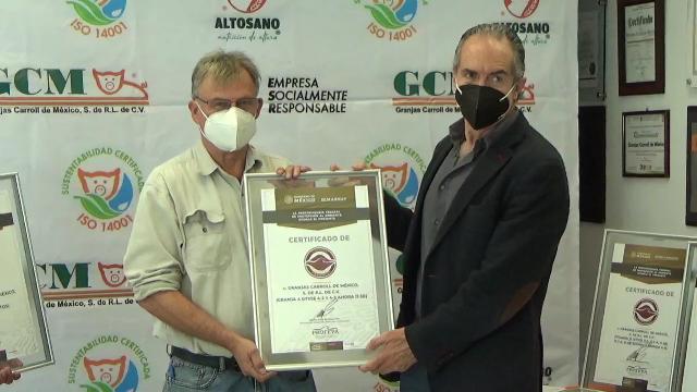 Recibe Granjas Carroll de México 8 Certificaciones Ambientales Federales