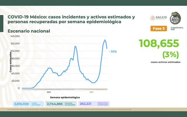 Sigue Covid-19 cobrando víctimas: 725 muertes más y ya son 262 mil 221 en México   Gráficas