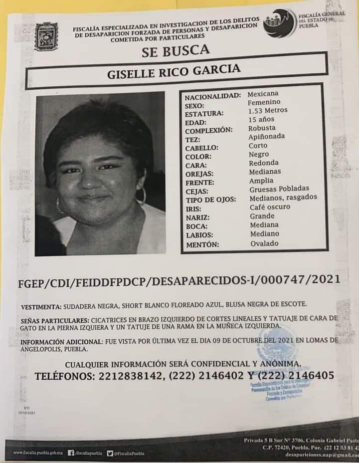 #ServicioSocial: Se busca Giselle Rico García (Ayúdanos a compartir)